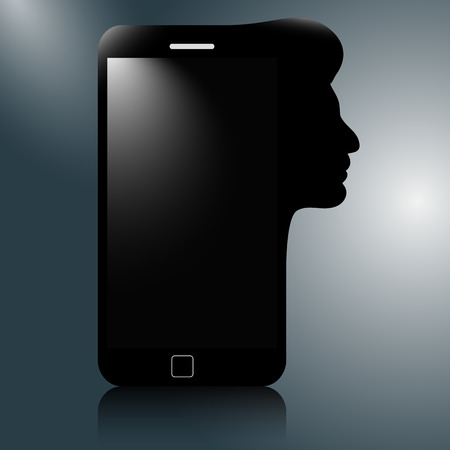 head phone: Modern mobile phone with the silhouette of a human head. thinking phone.