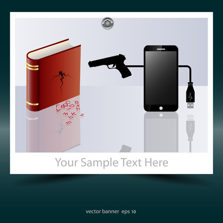 kill: E-books and mobile phones kill printed books. Social advertisement. Vector image.