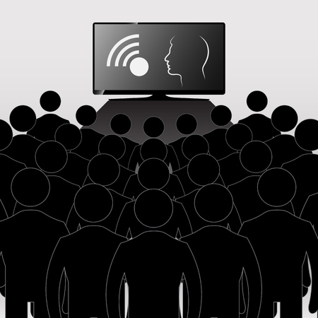 watching television: Concept. Telezombirovanie. TV audience. The team of people watching television Illustration