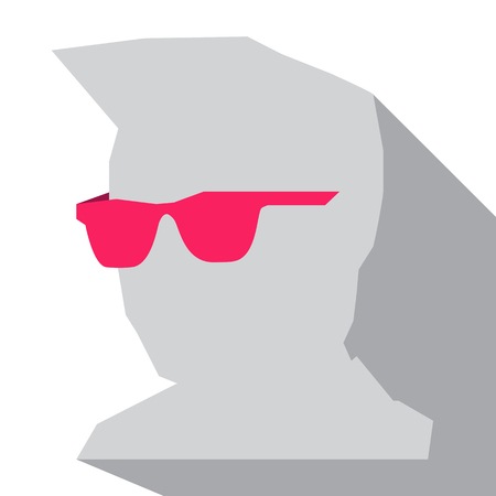 Silhouette of a mans head in pink glasses. Vector image Illustration