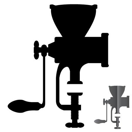 grinder: Silhouette manual mechanical grinder vector execution.