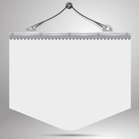 The white pennant with a metal holder and cord, hanging on a nail on the wall with shadow