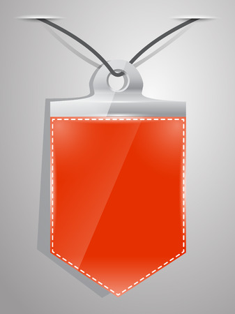 facia: Red pennant hanging on a nail on the wall with shadow. Vector illustration.