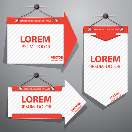 facia: Set of white banners hanging with red frame in the form of arrows