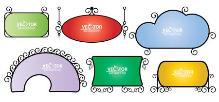 Set of color simple vintage signage