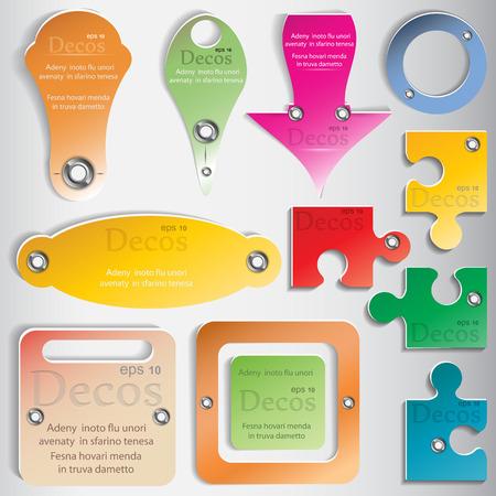 cognate: Set of color web elements for design.