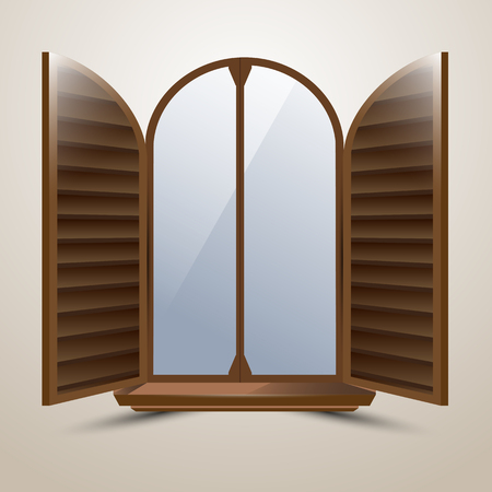 sunblind: The semicircular arched window with protective shutters Italian style Illustration