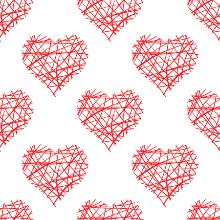 A seamless pattern from the hearts of the correct form in a symmetrical order