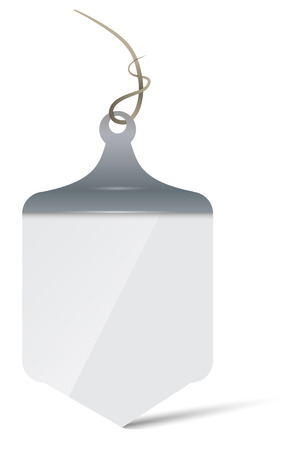 Pendant signboard-banner in the form of a pennant of gray color, imitation of metal.