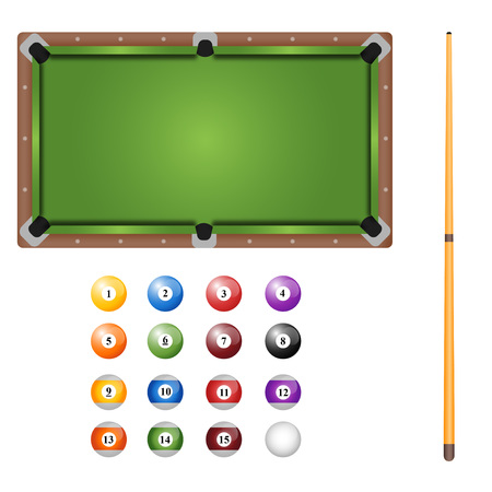 Pool table with balls and cue. Top view.
