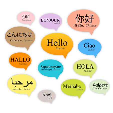 Bonjour bulles de discours dans différentes langues, vecteur Banque d'images - 75475685