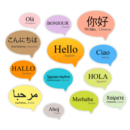 Hello speech bubbles in different languages, vector