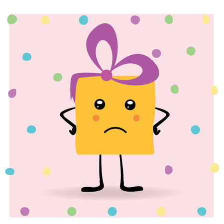 A human cartoon gift. A disappointed female christmas pack with eyes, cheeks, legs, hands and a bow standing on a green background dots Vector