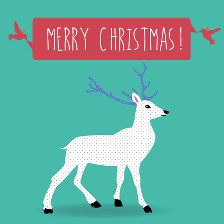 Vintage Christmas postcard with violet white reindeer antler and two pink birds happy with hanging ribbon to wish a Merry Christmas on a green square background Vector