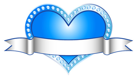 Heart Blue with white line (vector) Illustration