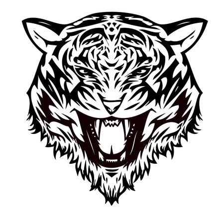 Tiger cat aggressive (vector)  向量圖像