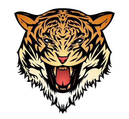 Tiger aggressive color (vector) Stock Vector - 10252149