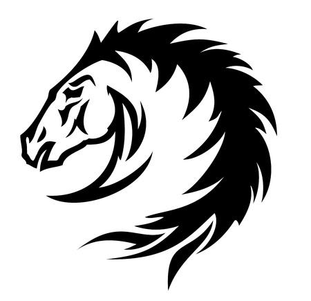 yegua: Fuego de caballo símbolo (vector) Vectores