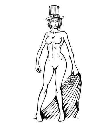 America American Girl  Vector