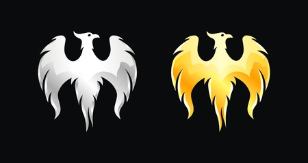 Phoenix bird wings silver and gold Vector
