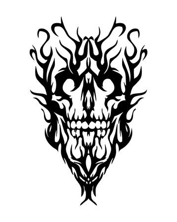 tete de mort: Cr�ne de la fum�e, on dirait que le mal. Tatouage
