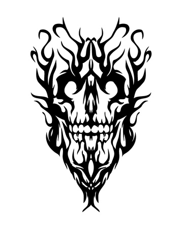 skull tattoo: Skull from smoke, looks like evil. Tattoo Illustration