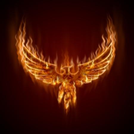 oiseau dessin: Phoenix contre le feu avec des ailes