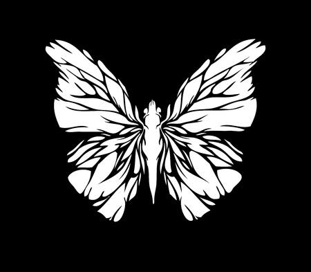 grunge wings: Bianco farfalla su sfondo nero  Vettoriali
