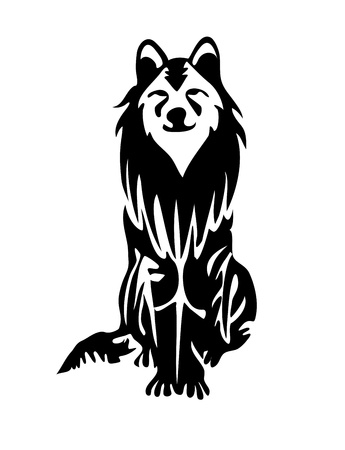 Nice wolf , dog family animal. Vector