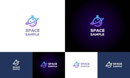"""""""Space Sample"""" is beautiful executed logo,  which look like a planet and the same time has a shape of flask with a planet aura like Saturn.  This logo could be used for organizations related to space lab, science or chemistry and etc."""