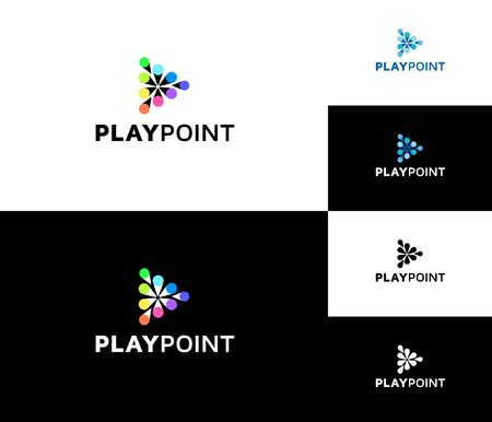Play Point Logo. Very playful and attractive logo, with shape of the play button.