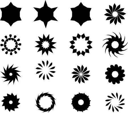 Black flat  stars, mandala, flowers, snow flakes vector pack.