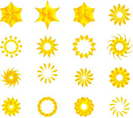 Estrellas de color amarillo dorado, mandala, flores, paquete de vectores de copos de nieve. Ilustración de vector