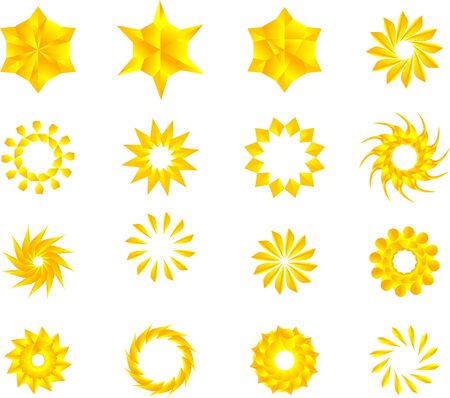 Stelle di colore giallo dorato, mandala, fiori, pacchetto vettoriale di fiocchi di neve. Vettoriali
