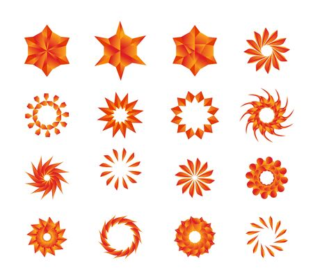 Orange Golden Stars Mandala Flowers Flakes Pack 向量圖像