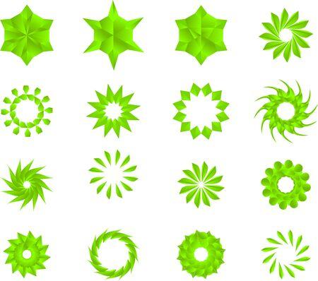 green color stars, mandala, flowers, snow flakes vector pack.