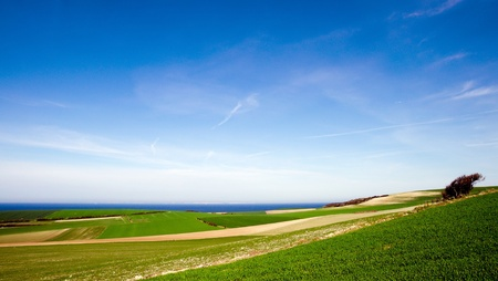 landscape at the French nothern Coast with the cliffs of Dover in the distant