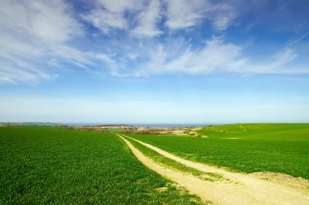 Small road between the fields in Wissant at the Northern coast of Francd Stock Photo - 9549594