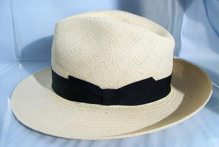 光沢のある白い背景を持つパナマ帽子