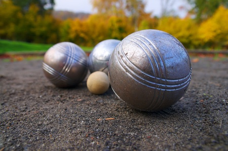 french boule: Petanque, sports game played in south of France