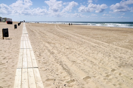 Stredged beach with boardwalk in Domburg, Holland