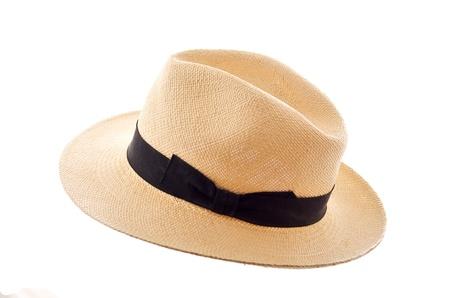 straw hat: Panama cappello isolato su bianco