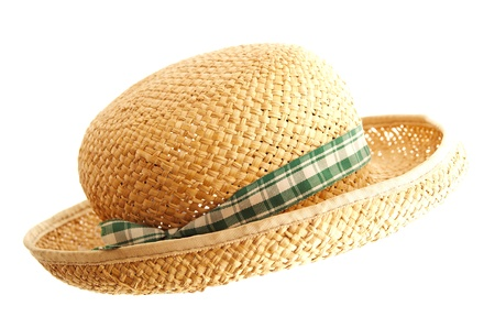 Straw hat with ribbon isolated on white