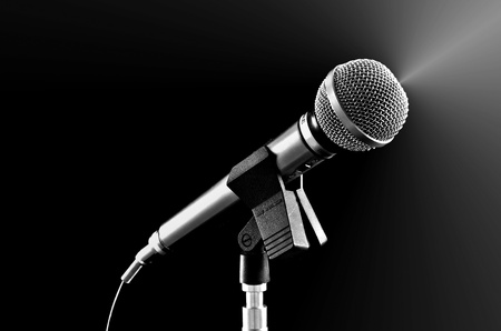 Silvery microphone on black Stock Photo - 14238829