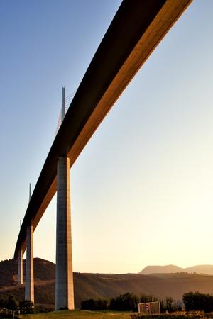 millau: Viaduct Millau in the morning sun, Tarn valley in France Editorial