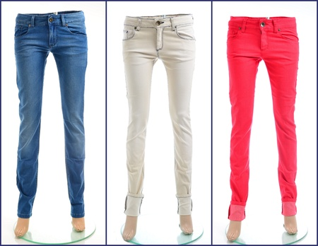 Color denim jeans in blue, white and red Stock Photo