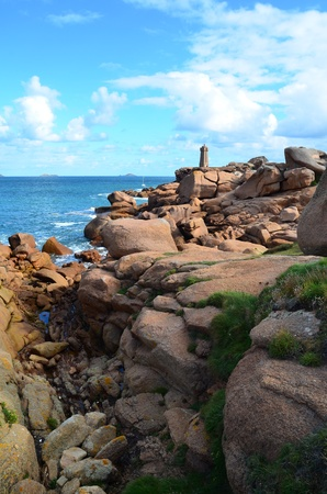 cote de granit rose: The lighthouse of Ploumanac?h, Cote de granit rose  in North Brittany, France