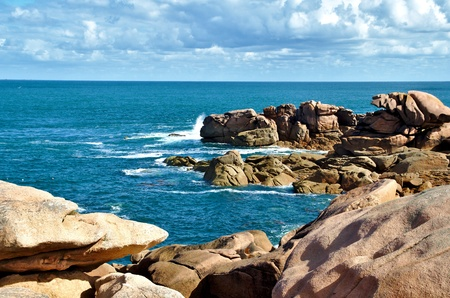 cote de granit rose: Coast at the Cote de granit rose in  Brittany, France Stock Photo