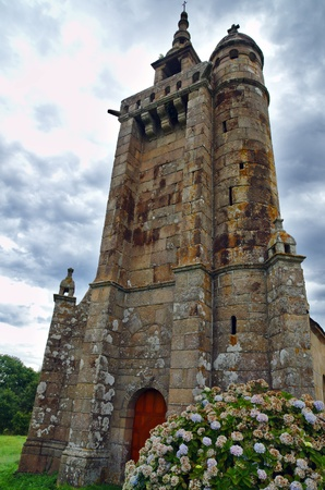cote de granit rose: Historical Roman Church in Brittany at the cote de granit rose in the middle of nowhere