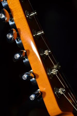 close up of guitar head Stock Photo